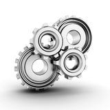 working metallic gears on white background Stock Image
