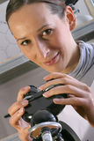 Working with microscope Stock Image