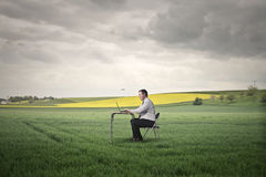 Working in the middle of a field Stock Images