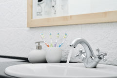 Working mixer tap Royalty Free Stock Images