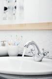 Working mixer tap Stock Image