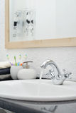 Working mixer tap Royalty Free Stock Photo