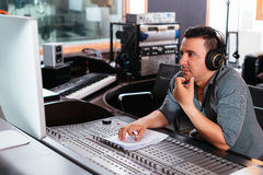 Working at mixing panel royalty free stock photo