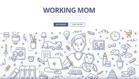 Working Mom Doodle Concept stock illustration