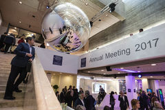 Working moments during World Economic Forum in Davos. DAVOS, SWITZERLAND - Jan 19, 2017: Working moments during World Economic Forum Annual Meeting 2017 in Davos Stock Images
