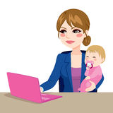 Working Mother With Baby vector illustration