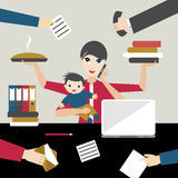 Working mother with child in business offiice. Multitasking person. Royalty Free Stock Photos
