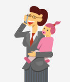 Working mother flat 2 phone Stock Image