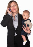 Working Mother on Phone Royalty Free Stock Photography