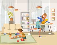 Working Mother. Vector Illustration. royalty free illustration