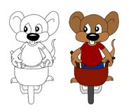 A Working Mouse. A mouse pushing a wheelbarrow around Stock Photo