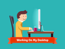 Working on my desktop concept flat illustration Stock Image