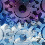 Working Night And Day. Business employment concept as a group of cog gears or cog wheels on a dark evening sky and daytime bright landscape as a concept of Stock Image