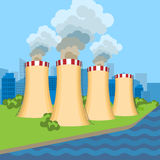 Working nuclear power plant near tower set along flowing river Stock Image