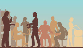 Working office. Editable  silhouettes of people in a busy office Royalty Free Stock Images