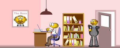 Working in the office with the boss Stock Photo