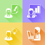 Working in a office colorful flat icons Royalty Free Stock Photography