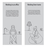 Working in office and from home vector Stock Photography
