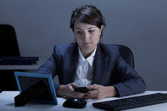 Working in the office at night Royalty Free Stock Photography