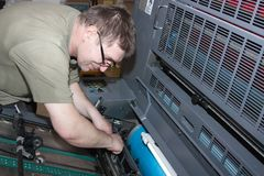 Working offset printer Royalty Free Stock Image