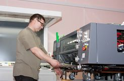 Working offset printer Royalty Free Stock Photo
