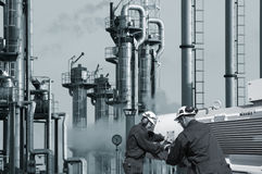 Working with oil and gas refinery Stock Photos