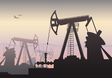 Working Oil Pumps and Drilling Rig, Oil Pump, Petroleum Industry Stock Photo