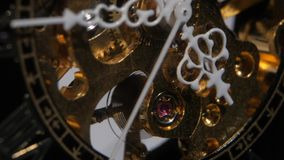 Working old clock mechanism. Close up stock video footage