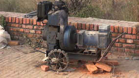 Working old portable electricity generator stock footage