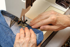 Working On A Sewing Machine Royalty Free Stock Photos