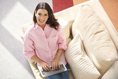 Working online from home Stock Photo