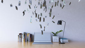 Working online on laptop computer making earning money. Business on a go. 3d rendering image of working table which have  100 dollar bills banknotes coming out Stock Photos