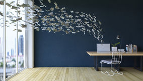 Working online on laptop computer making earning money. Business on a go. 3d rendering image of working table which have  100 dollar bills banknotes coming out Stock Photography