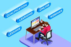 Working Online Vector Sitting Man. Learning online concept or working online concept with learning sitting man, blue conceptual isometric infographic, vector Royalty Free Stock Images