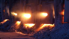 Working open-hearth furnace stock footage