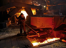 Working in the open-hearth workshop of metallurgical plant Royalty Free Stock Photos