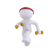 Working out!. Aadmi running with dumb bells Stock Photo