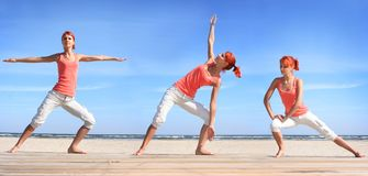 Working out on the beach Royalty Free Stock Photos