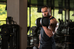 Working Out Biceps With Dumbbells. Big Man Standing Strong In The Gym And Wxercising Biceps With Dumbbells - Muscular Athletic Bodybuilder Fitness Model Exercise Stock Image
