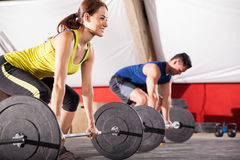 Working out in a cross-training gym Stock Images