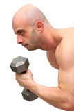 Working out with dumbbell royalty free stock photos
