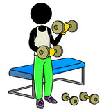 Working out with dumbbell in gym. Silhouette-man healthcare icon - working out with dumbbell in gym Stock Photos