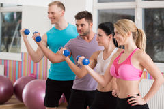 Working out with dumbbells Stock Photo