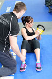 Working out with kettle bell royalty free stock photos