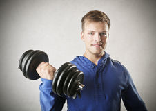 Working out. A man is working out Stock Photos