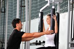 Working out with personal trainer royalty free stock photo