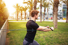 Working out with resistance band Royalty Free Stock Photos