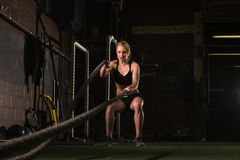 working out with a rope Royalty Free Stock Images