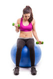 Working out on stability ball Royalty Free Stock Photography