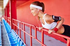 Working out at stadium Stock Photography